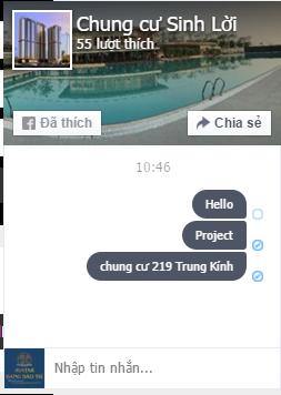 Cận cảnh cửa sổ Chat của ứng dụng Facebook Livechat