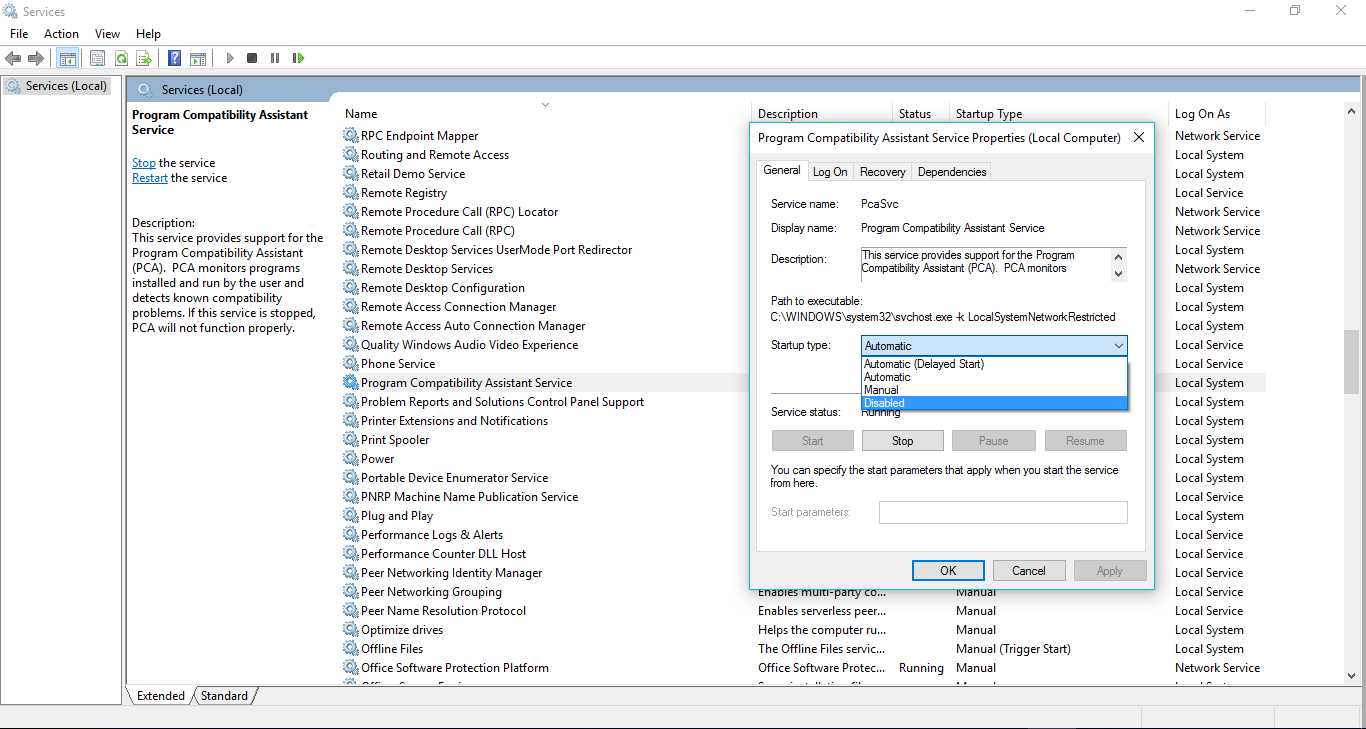 Hướng dẫn tắt thông báo lỗi cài đặt Program Compatibility Assistant