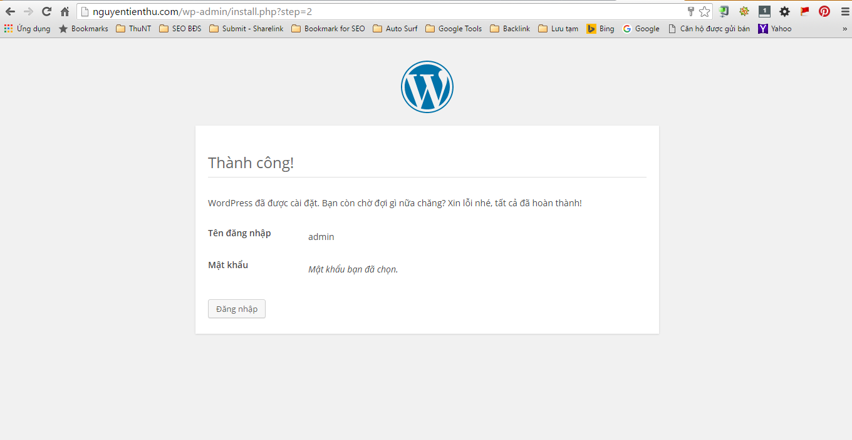 Cài đặt WordPress thành công