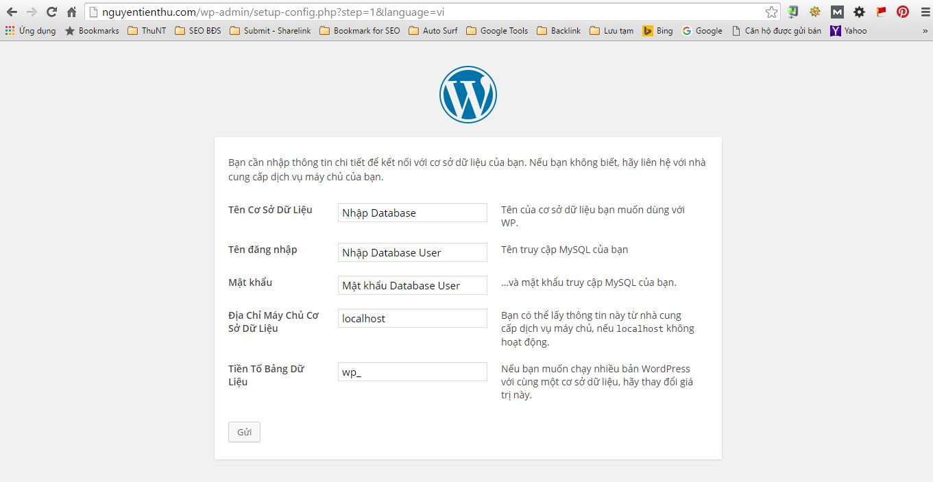 Nhập thông tin kết nối cơ sở dữ liệu cho website của bạn