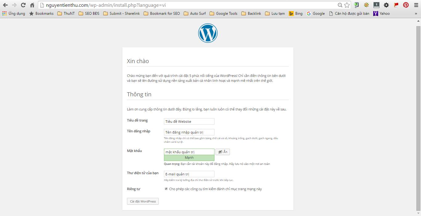 Nhập thông tin cho website