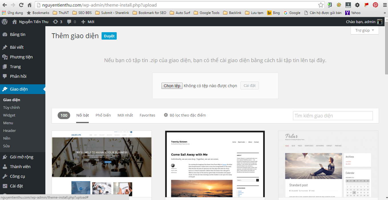Tải lên giao diện WordPress