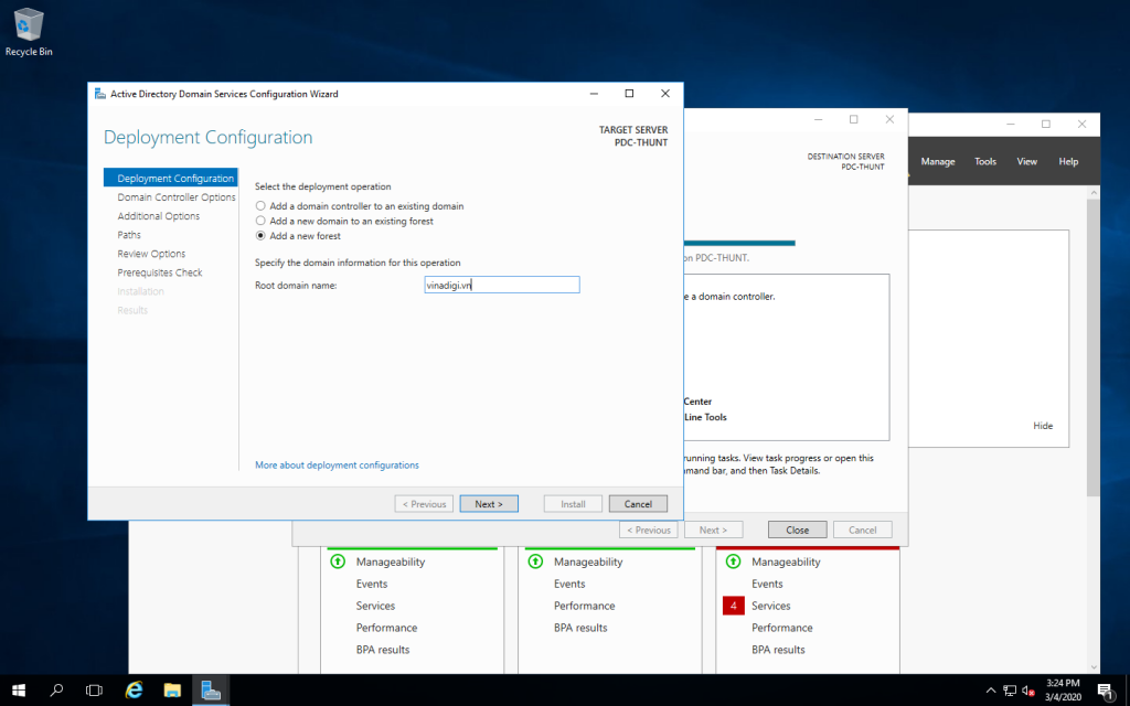 Deployment configuration add a new forest