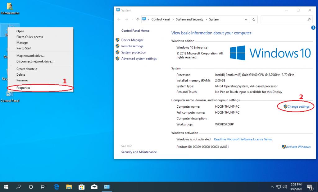 Chuột phải vào This PC (My Computer) chọn Properties