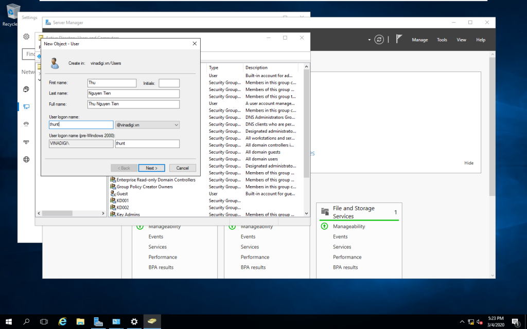 Cửa sổ Add new User new object user