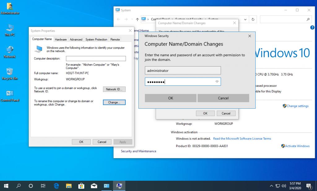 Nhập User và Password tài khoản Admin của Domain Controller