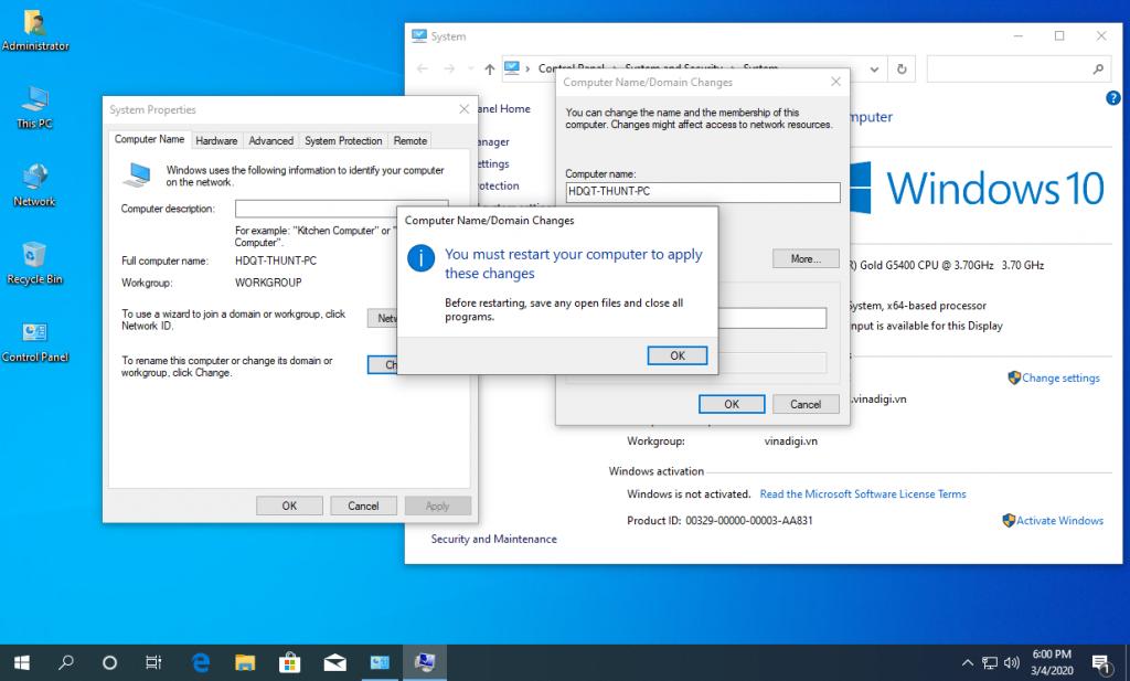 Thông báo thay đổi sẽ được thực hiện sau khi Reset máy tính