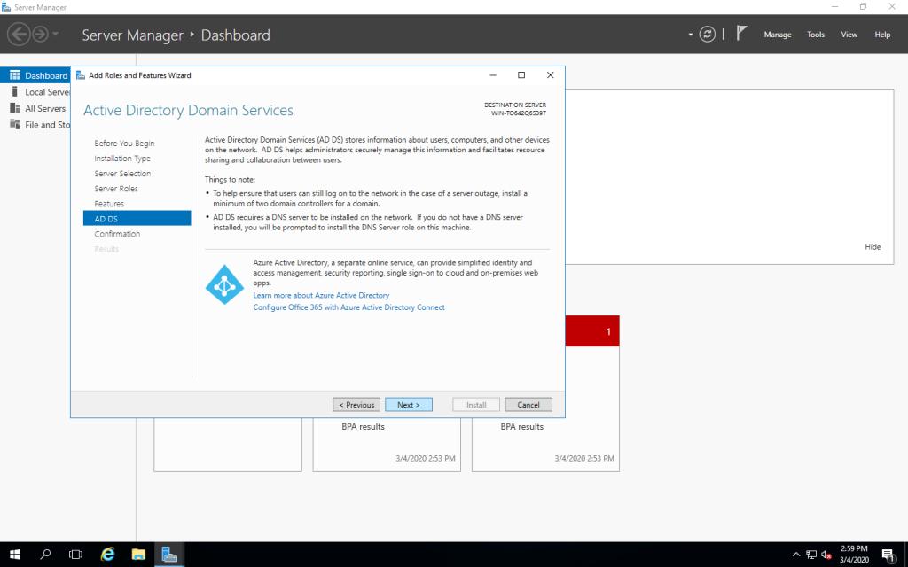 Màn hình giới thiệu Active Directory Domain Services (AD DS)