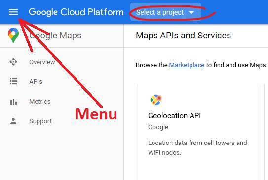 Click vào Select a Project (Nút menu để sử dụng ở các bước sau)