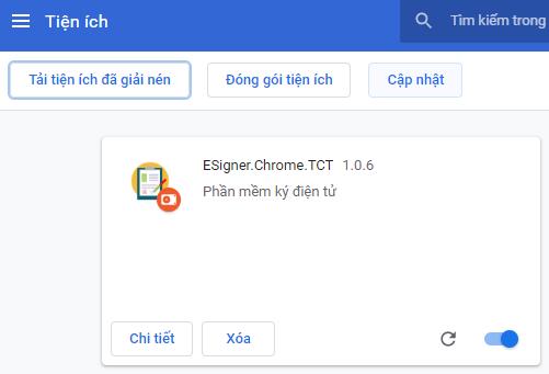 Kết quả sau khi tải thư mục tiện ích eSigner.Chrome.TCT lên Chrome