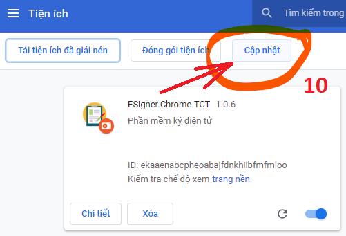 Cập nhật tiện ích eSigner.Chrome.TCT