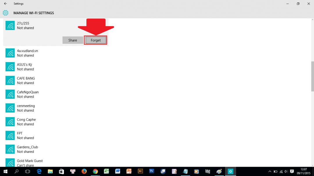 Thiết lập lại mật khẩu Wi-Fi trên Windows 10