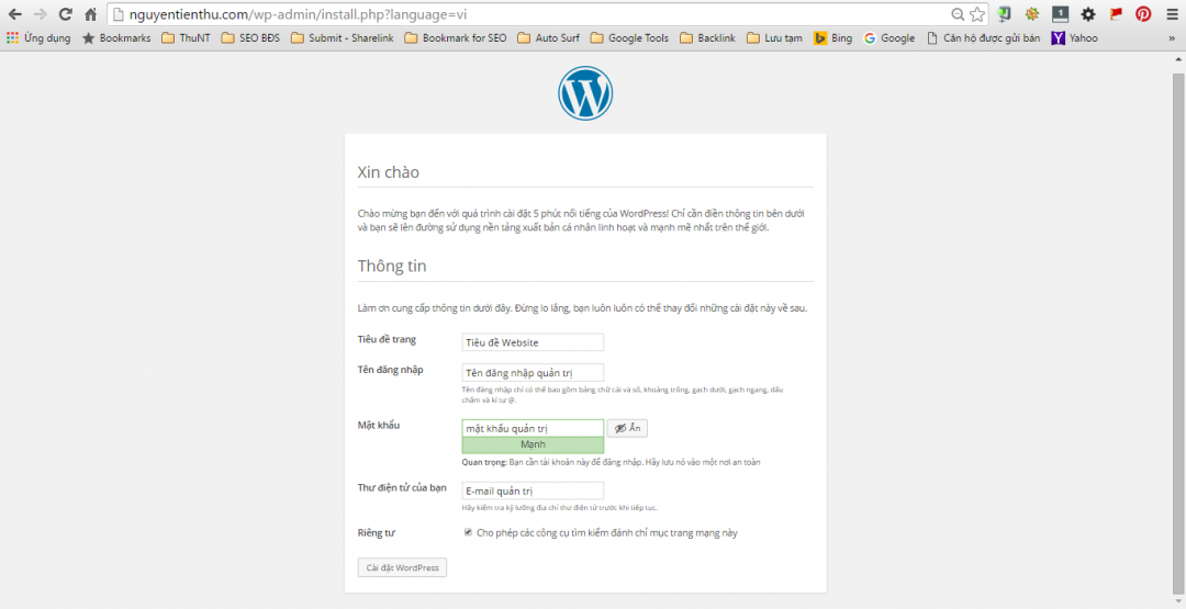 Hướng dẫn cài đặt Wordpress lên Hosting