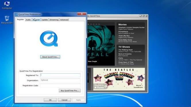 Phần mềm QuickTime trên Windows đã không còn được Apple hỗ trợ cập nhật bản vá bảo mật - Ảnh: YouTube